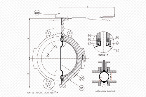 wafer type lined butterfly valve line diagram